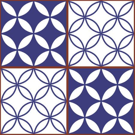 Moroccan and Turkish geoemetic tile seamless vector design, white and blue textile pattern