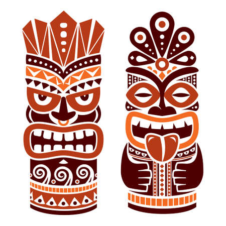 Tiki pole totem vector design in brown - traditional statue decor set from Polynesia and Hawaii, tribal folk art background