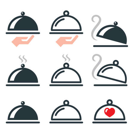 Dinner, food platter with tasty restaurant meal vector icons set