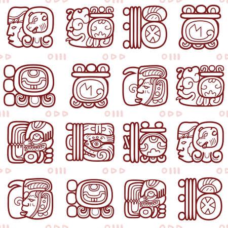 Maya glyphs, Mayan writing system vector seamless pattern - tribal art Vektoros illusztráció
