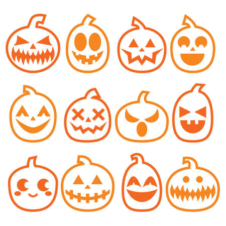 Halloween Pumpkins vector icon set, Halloween scary faces design collection, stroke pumpkin decoration in orange on white background