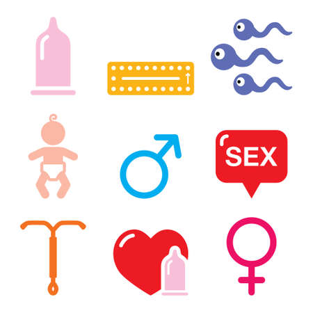 Contraception methods, sex vector icons set in color on white background - health concept