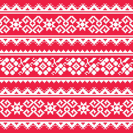 Ukrainian and Belarusian folk art vector seamlesss pattern - inspired by retro Slavic designs in white on red background