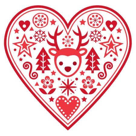 Christmas Scandinavian vector heart greeting card design - folk art style pattern with reindeer, snowflakes Xmas trees and flowers