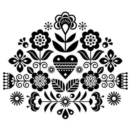 Scandinavian folk flowers vector design, cute spirng floral pattern inspired by traditional embroidery from Sweden, Norway and Denmark