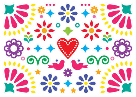 Mexican happy folk art vector greeting card or party invitation design, colorful pattern with flowers and birds inspired by traditional ornaments from Mexico