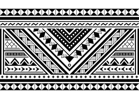 Polynesian ethnic seamless vector long horizontal pattern, Hawaiian black and white design inspired by Maori tattoo art Vector Illustration