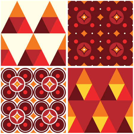 60s and 70s style vector seamless pattern, mid-century modern design set of four retro backgrounds
