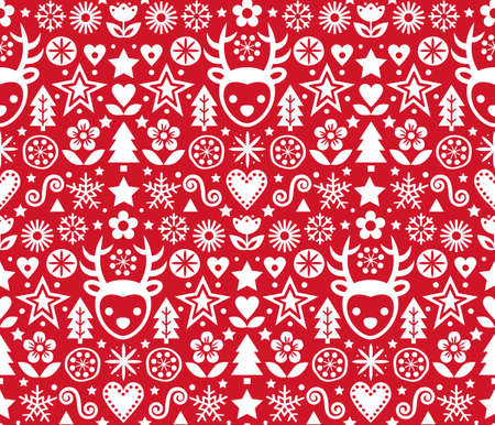 Christmas cute Scandinavian folk art vector red seamless pattern, repetitive design with reindeer, flowers and pine trees in white on red background