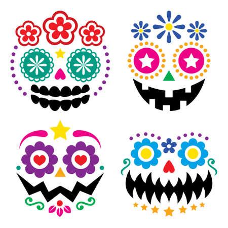 Halloween and Dia de los Muertos skulls and pumpkin faces vector color design - Mexican sugar skull style decoration
