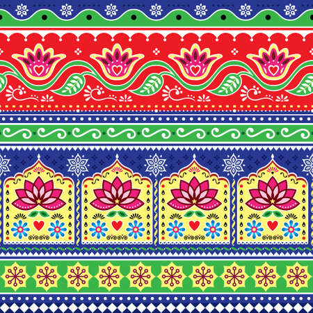 Indian or Pakistani truck art floral seamless vector pattern, Jingle trucks vibrant repetitive design,  vivid ornament with lotus flowers and abstract shapes Ilustração