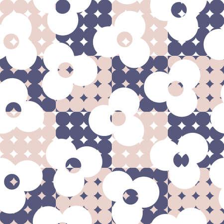 Vintage 60's and 70's style floral vector seamless design - mid-century modern textile, fabric print pattern Ilustração