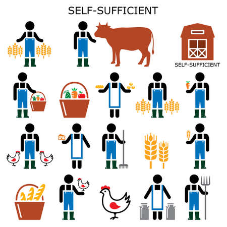 Self-sufficient farmer vector color icons, self sufficiency farming concept, eco and green living design collection