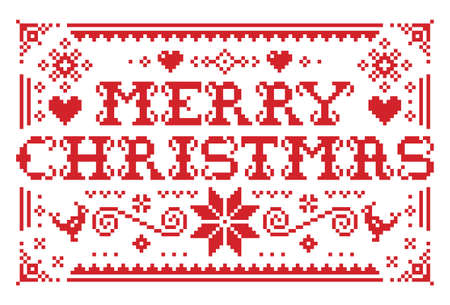 Merry Christmas vector greeting card pattern in red on white background - Scandinavian knnitting, cross-stitch design