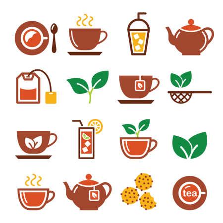 Black tea and ice tea vector icons set - brown color design set