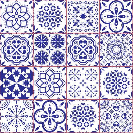 Portuguese Azulejo tile seamless vector pattern, Lisbon navy blue retro tiles design collection 免版税图像 - 155513371