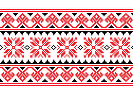 Ukrainian, Belarusian cross-stitch vector seamless pattern, long retro ornament inpired by folk art - Vyshyvanka