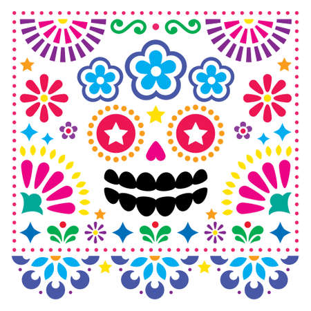 Mexican folk art vector folk art design with sugar skull and flowers, colorful Halloween and Day of the Dead greeting card