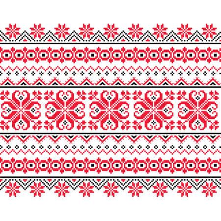 Ukrainian, Belarusian folk art vector seamless pattern, long cross-stitch ornament inpired by folk art - Vyshyvanka