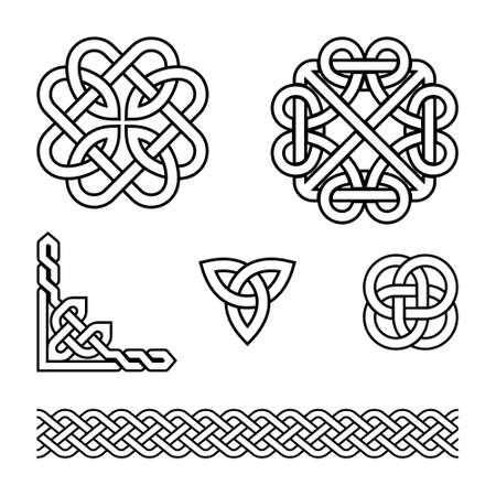 Celtic vector pattern set - braids and knots with stroke, irish traditional design elements collection