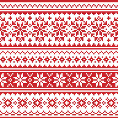 Christmas Scandinavian vector seamless pattern - red and white festive knnitting, cross-stitch design with snowflakes