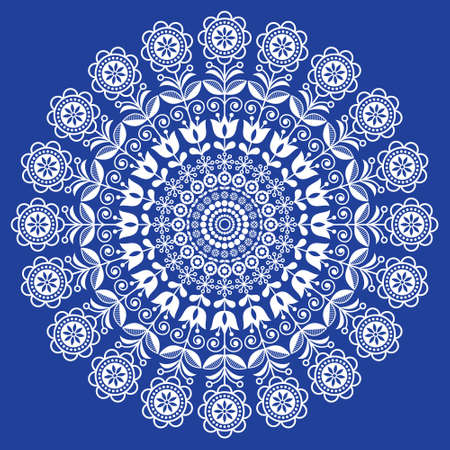 Seamless Scandinavian folk art vector mandala with flowers, floral repetitve ornament, Nordic design with flowers in white on navy blue
