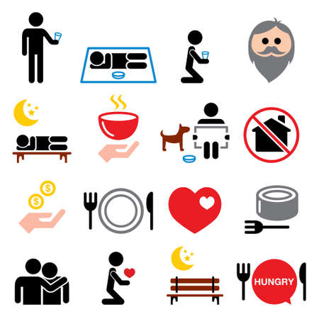 Homeless, poverty, man begging for money icons set - society, helping other people with no home concept