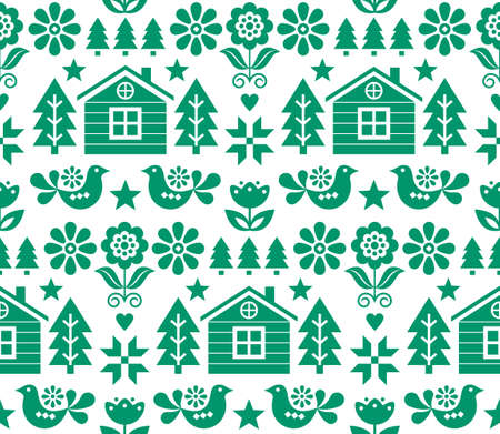 Christmas Scandinavian folk art vector seamless pattern in green on white with Christmas trees, birds, flowers and Finnish house