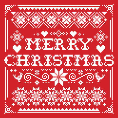 Merry Christmas vector greeting square card pattern in white on background - Scandinavian knnitting, cross-stitch design