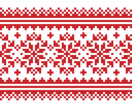 Christmas Scandinavian long vector seamless pattern - red and white festive knnitting, cross-stitch design with snowflakes 向量圖像