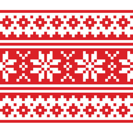 Christmas Scandinavian long vector repetitive red and white pattern - seamless festive knnitting, Nordic stitch snowflake design 向量圖像