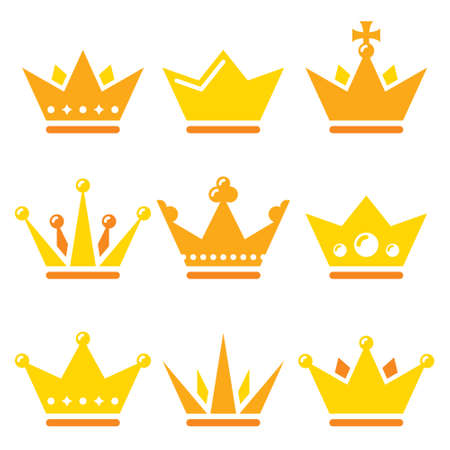 Crown, royal family vector icons set - design in gold color isolated on white