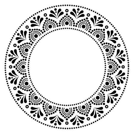 Mandala Australian dot paiting style-  monochrome vector design, Aboriginal traditional decorative pattern, Australian mosaic art 일러스트