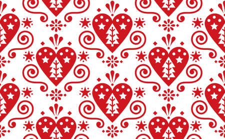 Christmas cute Scandinavian folk art vector red seamless pattern with hearts, christmas trees, flowers and swirls