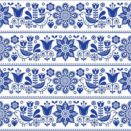 Scandinavian folk art seamless vector design with flowers and birds, cute repetitive white and navy blue pattern 向量圖像