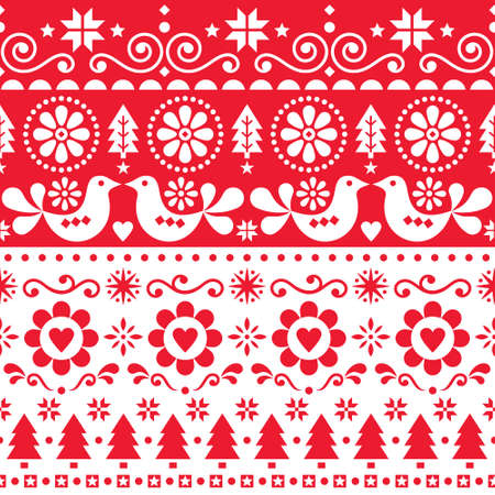 Christmas folk art vector seamless pattern, cute Scandinavian festive design with birds, snowflakes, flowers, Xmas trees in red and white