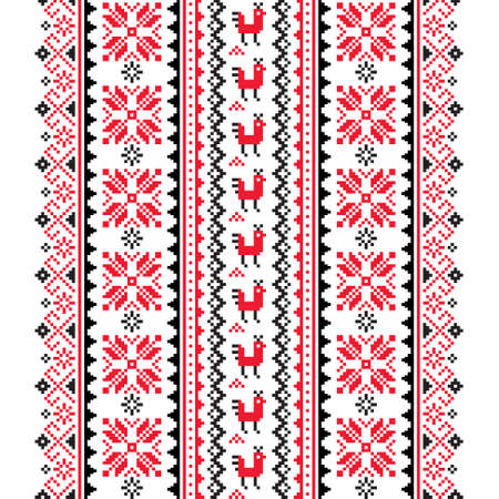 Ukrainian, Belarusian folk art vector seamless pattern in red and black, inspired by traditional cross-stitch design Vyshyvanka