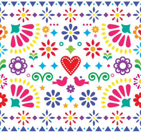 Mexican folk art vibrant seamless vector pattern, colorful design with flowers and birds inspired by traditional ornaments from Mexico.  Happy repetitive floral background  イラスト・ベクター素材