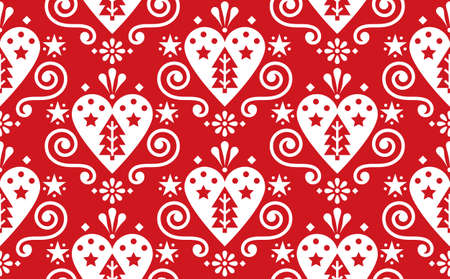 Christmas cute Scandinavian folk art vectorseamless pattern with hearts, christmas trees and flowers in white on red 向量圖像