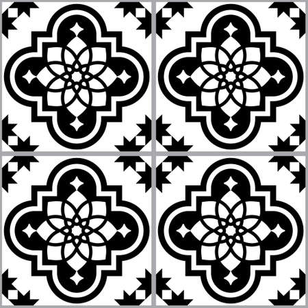 Portuguese and Moroccan Azulejo geometric tile seamless vector pattern, black and white repetitive textile design 向量圖像