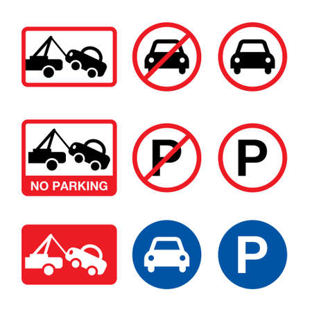 No parking vector sign, parking forbidden design set 일러스트