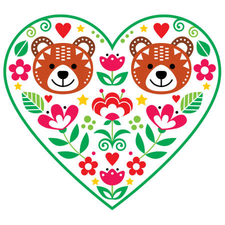 Scandinavian heart with two bears in love and flowers folk art vector design, Valentine's Day floral greeting card or wedding invitation