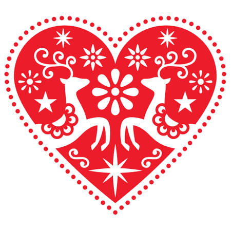 Christmas folk art heart with deer vector greeting card design, Scandinavian retro style merry pattern with flowers and stars