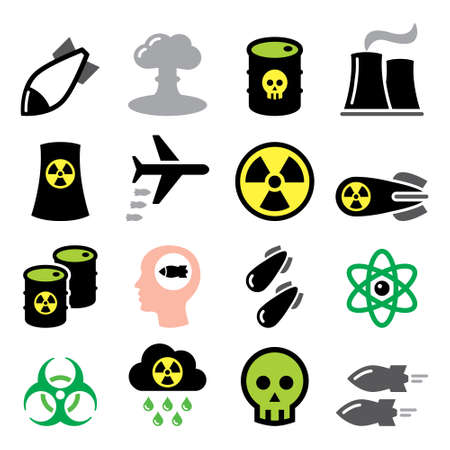 Nuclear weapon, nuclear factory, war, bombs vector icons set - biohazard warning