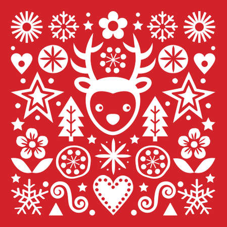 Christmas Scandinavian folk art vector white on red greeting card design, cute festive pattern with reindeer, snowflakes, hearts, stars, Christmas trees and flowers