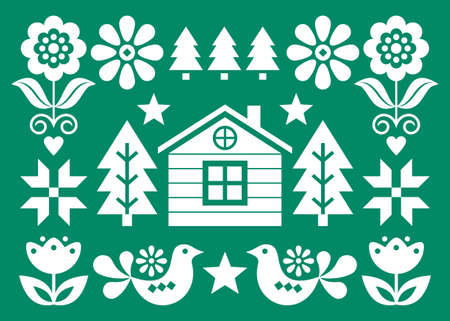 Christmas Scandinavian folk art vector greeting card design in white on green background in 5x7 format with Christmas trees, birds, flowers and Finnish house