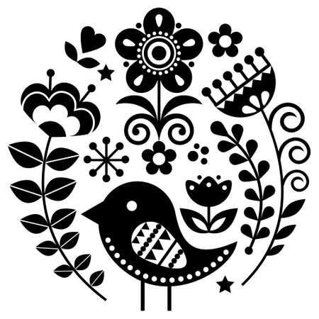 Scandinavian folk art vector pattern with flowers and bird in circle, black floral greeting card or invitation inspired by traditional embroidery from Sweden, Norway and Denmark
