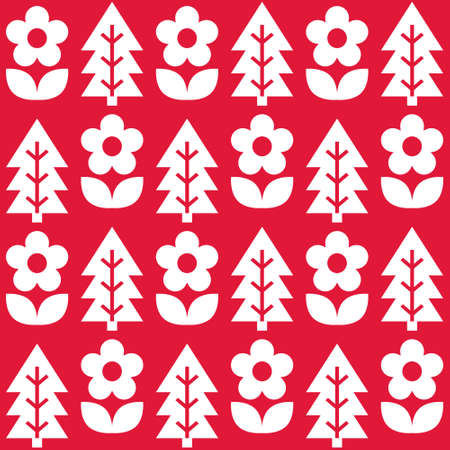 Floral Scandinavian Christmas folk art seamless vector pattern, white on red textile design with flowers and pine trees Ilustrace