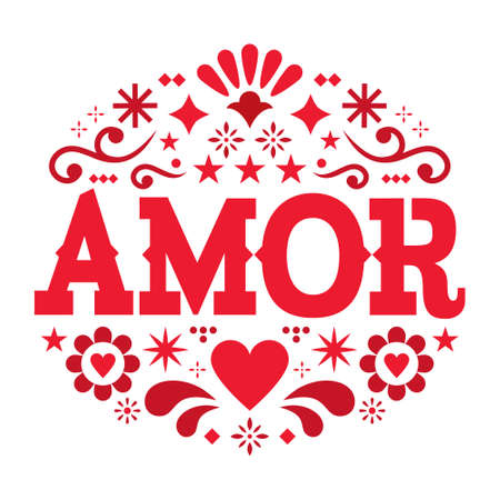 Amor pattern, Valentine's Day vector greeting card - love, Mexican folk art pattern with flowers, hearts and abstract shapes, wedding invitation