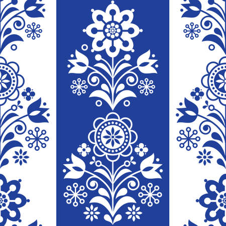 Scandinavian seamless folk art vector pattern, stiped floral navy blue repetitive design, Nordic fabric print
